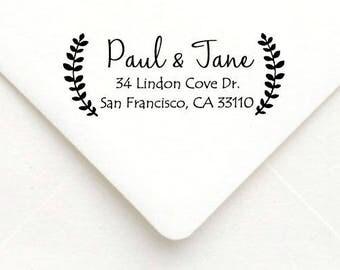 Personalized Self Inking Return Address Stamp - self inking address stamp - Custom Rubber Stamp, wreath address stamp A35
