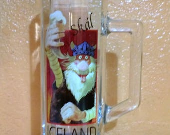 Vintage Skal Tall Glass Beer Stein Barware Mug Viking Troll .5L Iceland
