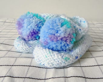 Baby Boy Blue Booties * CUTE * with pom poms, baby boy bootees