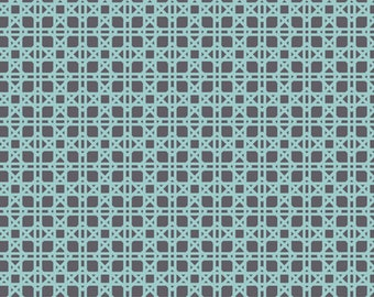 Art Gallery Fabrics 100% Premium Cotton LillyBelle Collection By Bari J -  LB-1101 Rattan Bleu - Blue and Gray Latice