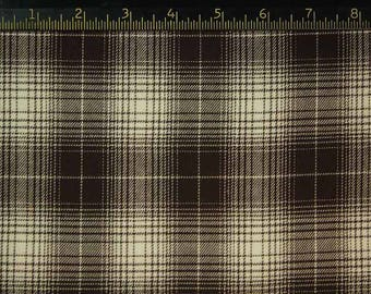 Beautiful Brown and Ivory Cotton Flannel Plaid-Imported from Japan