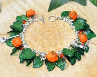 Pumpkin Patch Halloween Bracelet - Handmade Jewellery for Celebrating All Hallows, Samhain, Autumn, Harvest, Halloween