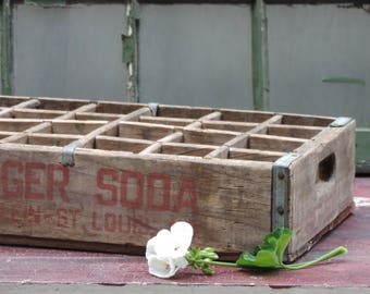 Vintage Wooden Soda Crate Garger Soda Box 1950's St. Louis Missouri Divided 24 Pack Soda Pop Crate Rare