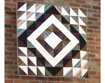"Modern quilt pattern - ""Stripey HSTs"" - Wall hanging quilt, geometric pattern with stripes and triangles, 40"" square - Instant download PDF"
