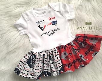 Custom House Divided Bodysuit Dress ( Patriots-Texans) I Cheer For Both Teams