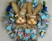 Easter Bunnies Mesh Wreath, Boy Bunny and Girl Bunny Mesh Wreath, Easter Decor, Easter Burlap and Mesh Wreath