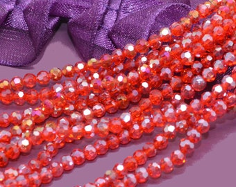 50 3mm red AB glass faceted beads