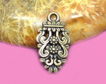 10 charms bronze 16x09mm Baroque
