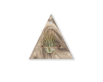 air plant wall hanger >> marbled wood >> laser cut triangle design >> plant included >> copper accent