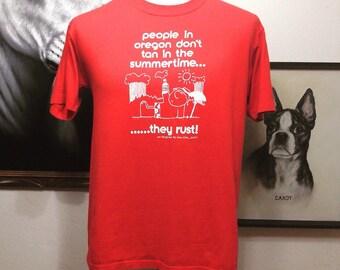 Vintage Oregon Rain Novelty T-shirt - 70's Oregon T-shirt - Oregon Rain Tee