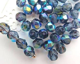Czech Glass Beads Faceted 6mm - BLUE IRIS SAPPHIRE - 50pcs