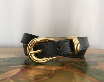 Black Belt Vintage Gold Tone Buckle size Small or Medium