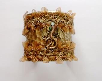 Dragon Wide Cuff Bracelet, Statement Bracelet, Gothic Cuff Bracelet, Swarovski crystal & Lace Cuff Bracelet, Gift for Her, Gothic Jewelry