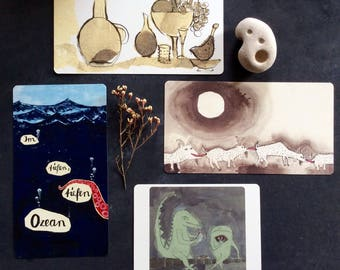 4 PRIMITIVE ART CARDS