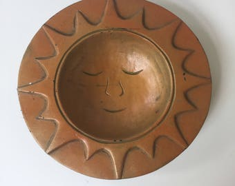 Vintage Wooden Decorative Bowl Orange Sun With Face, Bohemian Decor