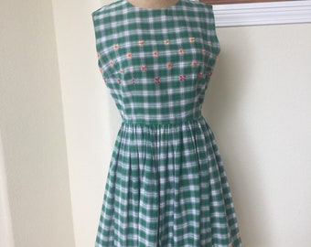Vintage 1950s Cotton Day Dress Size Sm Med