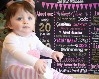 Pink Gold First Birthday Chalkboard - Chalkboard Poster - Pink - First Birthday - Pink Chalkboard - Pink & Gold Birthday - 1st Birthday