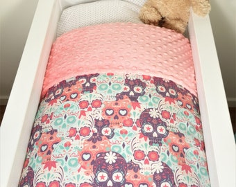 Bassinet quilt and/or fitted sheet - Sugar skulls (purple/pink/mint) AND soft coral minky