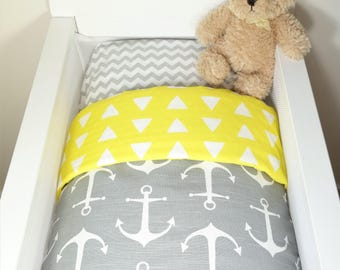 Bassinet individual items OR gift set: Grey with white anchors AND yellow and white geometric triangles