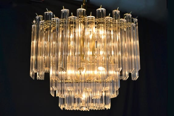 Mid Century Modern Oval Chandelier with Lucite Crystals 3