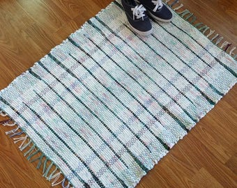 White and Green Handwoven Rag Rug