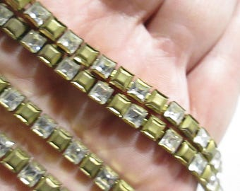 Vintage Rhinestone and Brass Bead Chain