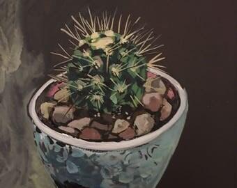 Cactus Houseplant Gouache Painting