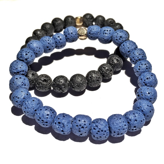 Black & Blue Raw Lava Stone Oil Diffuser Beaded Bracelet set, Aroma Therapy, Custom, Mala, Yoga, Meditation, Unisex, Men, Women, essential