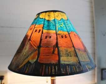 15 inch folded handpainted paper lampshade