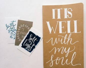 ON SALE It is well with my soul prayer journal, hand lettered on moleskine notebook, scripture gift, personalized gift