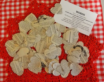CONVERSATIONAL HEARTS!  A Conversation Starter for Any Occasion 100 Hand Punched Scalloped Heart Shapes from Random Pages for Table Confetti
