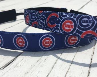 Chicago Cubs Nonslip Workout Headband || Running Headband - Sports Headband - Wrigley Field - Go Cubs Go - Team Headband - Cubs Lover Gift