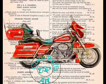 2008 Orange CVO Ultra Classic HD Motorcycle Art Beautifully Upcycled Vintage Dictionary Page Book Art Print, Drawing