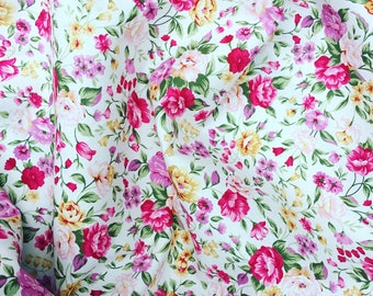 White pink lilac and gold vintage small roses pretty floral flower 100% quality cotton fabric  by Rose and Hubble by HALF METRE