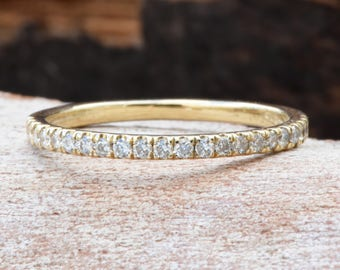 Art deco wedding band-Diamond wedding band-Eternity wedding band-Diamond Engagement Ring-14K Yellow Gold Ring-Classic band-For her