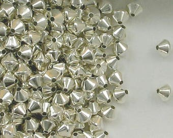 Sterling Silver 5mm Bi-cone Spacer Beads, Choice of Lot Size & Price