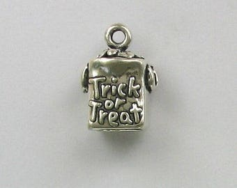 Sterling Silver Halloween Trick or Treat Bag Charm