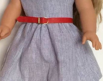 Pretty blue and white striped dress - AG - American girl - Our Generation - UK dolls clothes - !8 inch dolls clothes