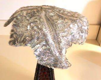 Silver Sequin Vintage Hat