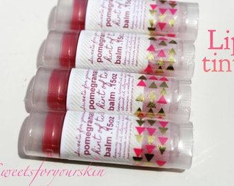 Pomegranate hint of tint lip balm