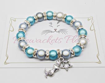 Mermaid Bracelet, Kids Bracelet, Crystal Jewellery, Mermaid Jewelry, Children's Fashion, Blue Beaded Bracelet, Mermaid Charm, Sea Theme