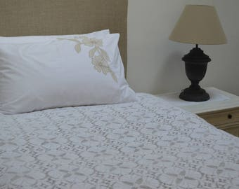 Brushed Cotton Machine Lace Bedcover 1970s, unused, 2 designs