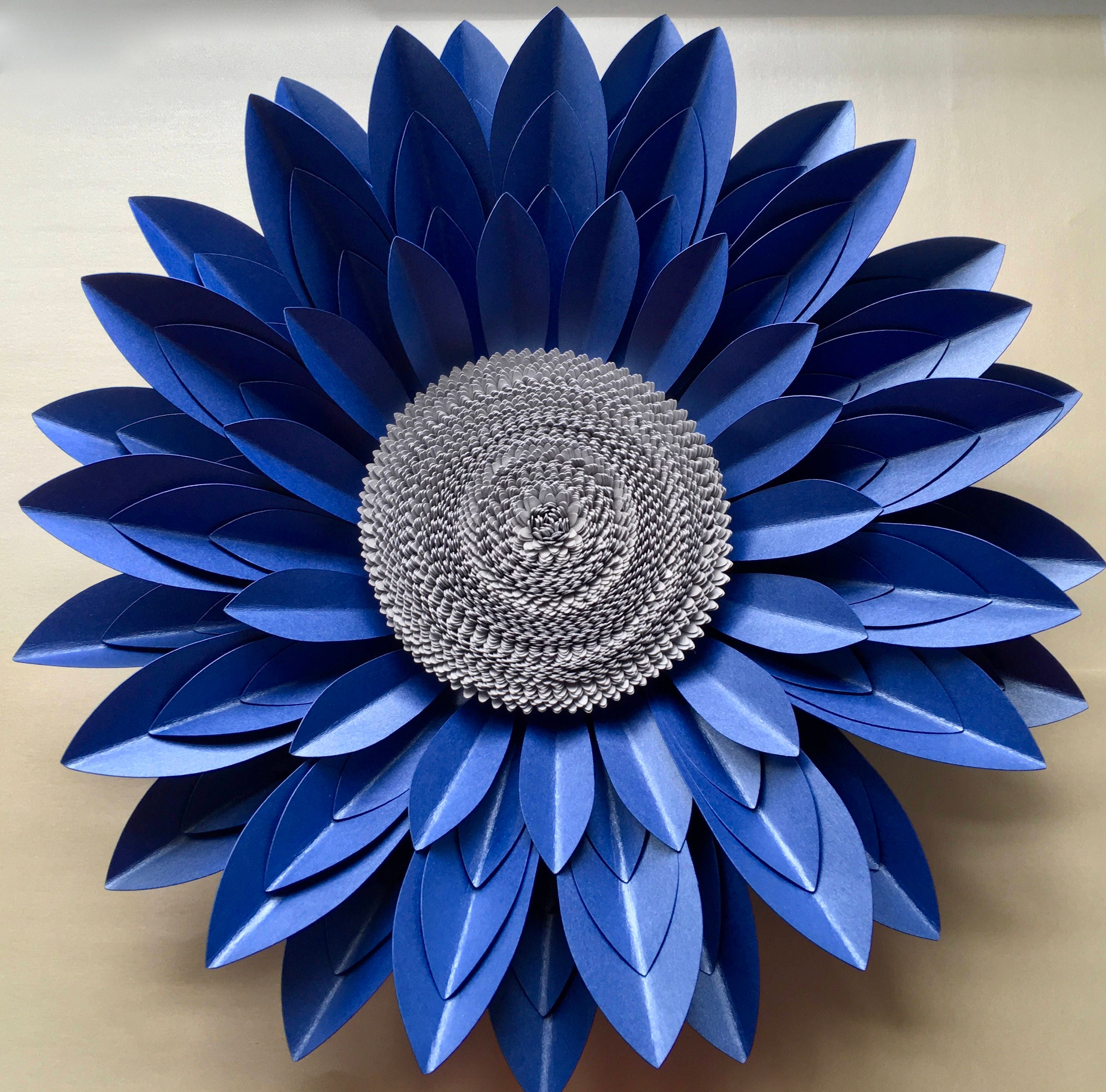 40cm royal blue and silver 3d paper flower wall dcor amipublicfo Images