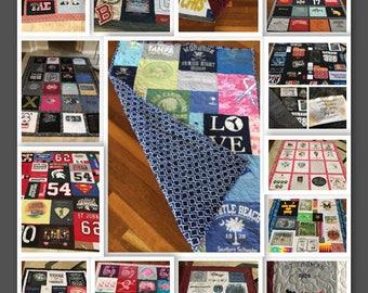 T-Shirt Quilts, tshirt quilt, T Shirt Quilt, Memory Quilt, Keepsake Quilt, Handmade Quilt, Concert Quilt, Fathers Day Quilts, Graduate Quilt