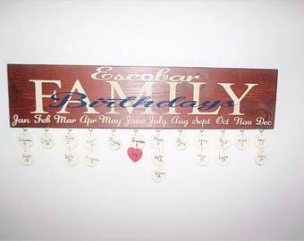 Personalized Family Birthdays Board, Mahogany Stain Family Birthdays Board, Family Name Birthdays Board, Birthday Board, Birthday Reminder