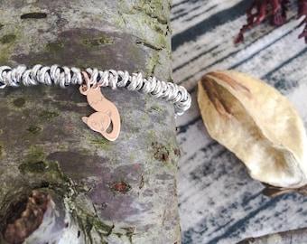 Bracelets with aluminum nods and 925 silver fox pendant