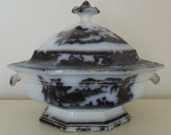 19th c. Mulberry Covered Casserole Ironstone Transferware England English Antique Staffordshire