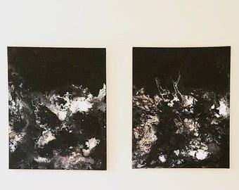 SALE Abstract Black Art XL Fluid Painting Black White Painting Splatter Wall Art Black Flow Painting Original Acrylic Art 24 x 30 canvas SET