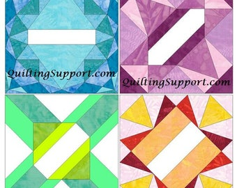 Monthly Autograph Blocks 15 Inch Block Set of 4 Paper Piece Template Quilting Block Patterns Set 1 PDF