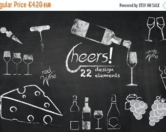 SUMMER SALE - 55% OFF Wine Cliparts Chalkboard Wine Clip Art, Wedding Elements, Toasting Glasses, Grape, Cheese, Party Clipart for Personal